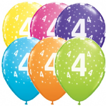 4th Birthday Stars - 11 Inch Balloons 6pcs